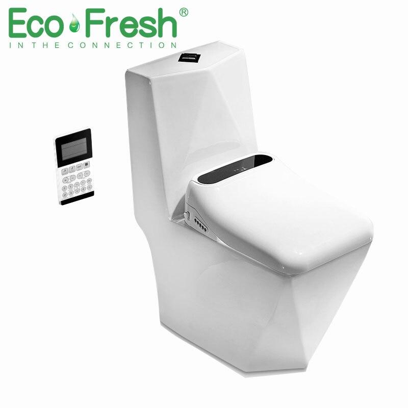 Ecofresh Quadrado assento do vaso sanitário Inteligente assento do vaso sanitário Elétrico bidé tampa do vaso Inteligente Bidé tampa do assento de calor levou luz auto