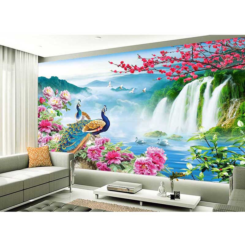 Elegant 2016 high quality customize size modern 3d peacock for Wallpaper 2016 for living room