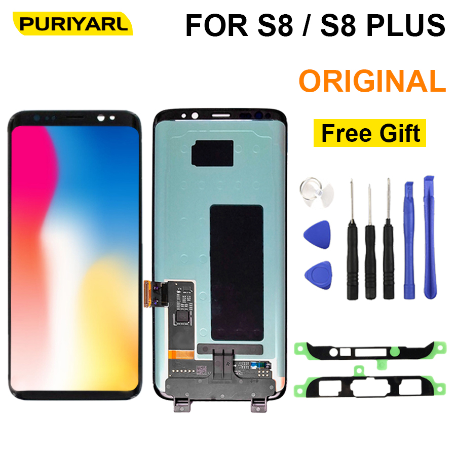 100% Original Work Super AMOLED LCD Display For Samsung S8 G950 Plus G955 Touch Screen Digitizer Assembly Replacement+Gift