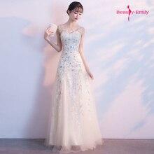 Beauty Emily 2020 Long O Neck Bridesmaid Dresses Sequins App