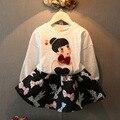 Nova moda 2016 Boutique Outfits define para crianças Cute Girl imprimir Floral manga comprida camisas Tops + saias Tutu define com roupas arco