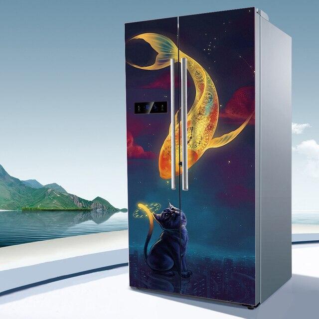 Yazi Doppeltür Kühlschrank Aufkleber PVC selbstklebende Wasserdichte ...