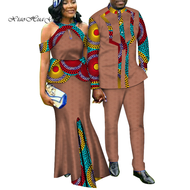 Two Piece Set African Dashiki Print Couple Clothing for Lovers Men's Suit Plus Women's Party Maxi Dress WYQ188 - 3