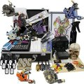 Professional Tattoo Kits Dual LCD Power 8 Tattoo machines with Grips Needles Tattoo Supply free shipping