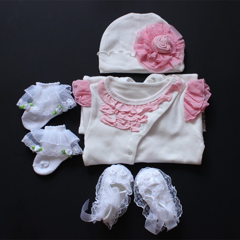 2016 Retailed Newborn Baby Girl Clothes Girls Lace Romper+flower+tulle Socks+gauze Shoes Hat Sets Infant Jumpsuit Birthday Gifts baby girl prewalker shoes infant girl mikey sneakers mouse flower pink soft sole pram shoes sapato infantil menina zapatos bebes