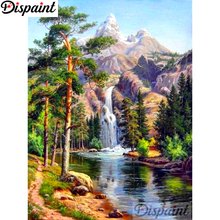Dispaint Full Square/Round Drill 5D DIY Diamond Painting Tree waterfall Embroidery Cross Stitch 3D Home Decor A10750 цена