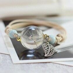 Новый Boho винтажный браслет с брелоками ручной работы настоящее сухой цветок стекло мяч переплетения регулируемый браслеты браслет для жен...