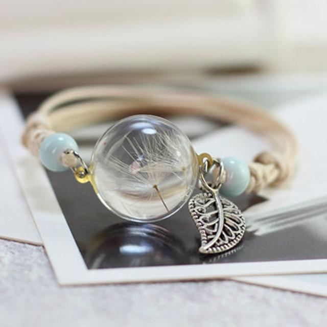 New Boho Vintage Charm Bracelet Handmade Real Dry Flower Glass Ball Weave Adjustable Bracelets Bangle for