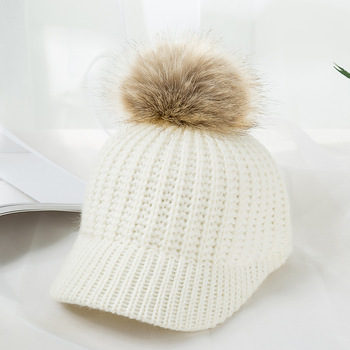 Kylie Knitted Pompom Winter Cap – White