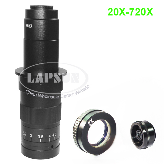 20X 720X C MOUNT Lens for Industrial Microscope Document Camera with 2 0X Top Barlow Lens