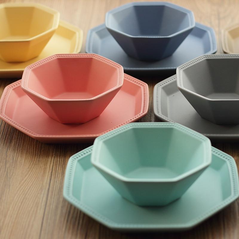 2pcsset modern colorful ceramic dinnerware set bone china dish bowl household breakfast plate - Modern Dinnerware