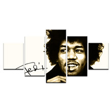 "5 Pcs/set Modern Home Decor Painted On Wall Art ""Jimi"" Hendrix Canvas Painting Print Poster For Bedroom Vintage Picture Framed(China)"