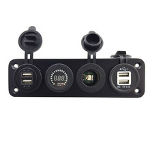 4 in 1 Car Digital Voltmeter Dual 7.3A USB Port Power Socket four Hole aluminum Panel with wiring kits