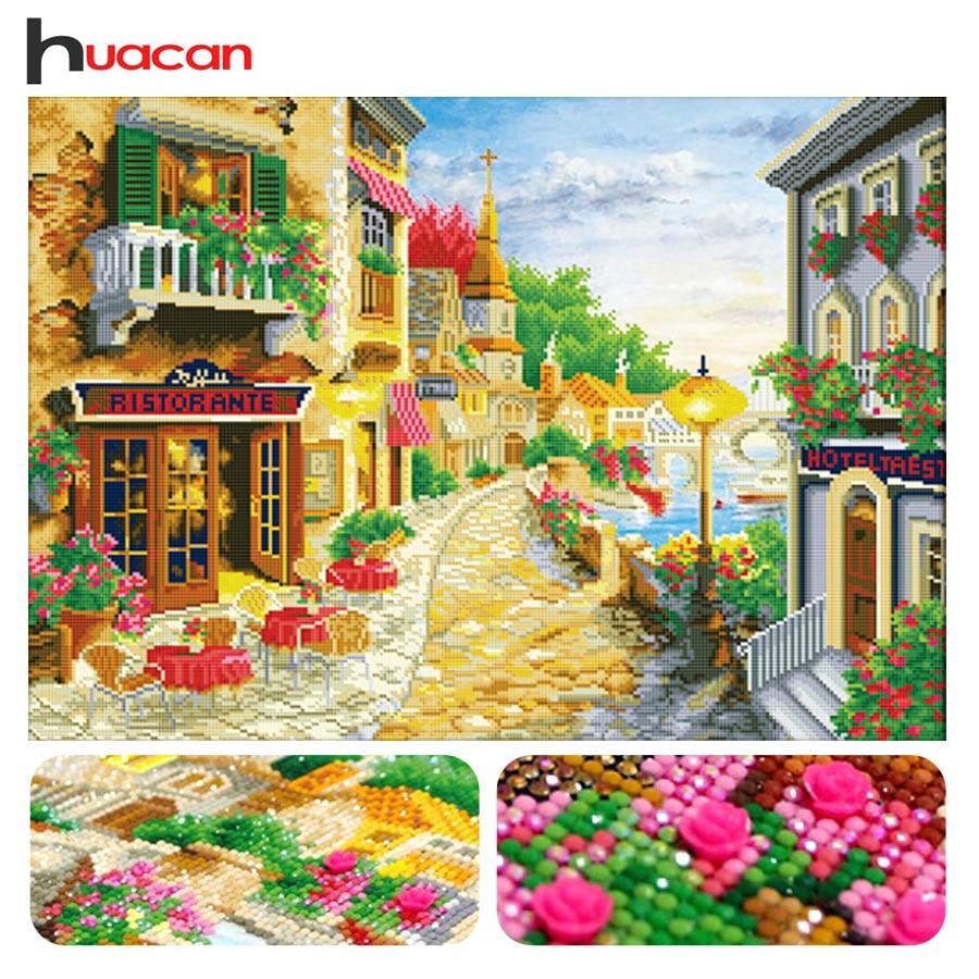 Huacan, en forma especial, bordado de diamante, patrón de ciudad, punto de cruz pintura diamante 3D, mosaico de diamantes de imitación, paisaje, decoración de la pared