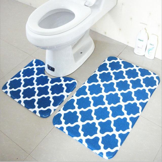 Bath Mat Set 2 Pieces 100 Polyester Non Slip Bathroom Carpet And Toliet Rugs 37
