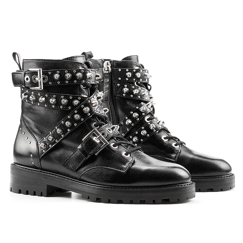 bota feminina 2018 Shoes Woman Ankle Boots Rivet belt buckle Motorcycle Boots Lace-up Boots Woman botas mujer zapatos de mujer belgium culture smart