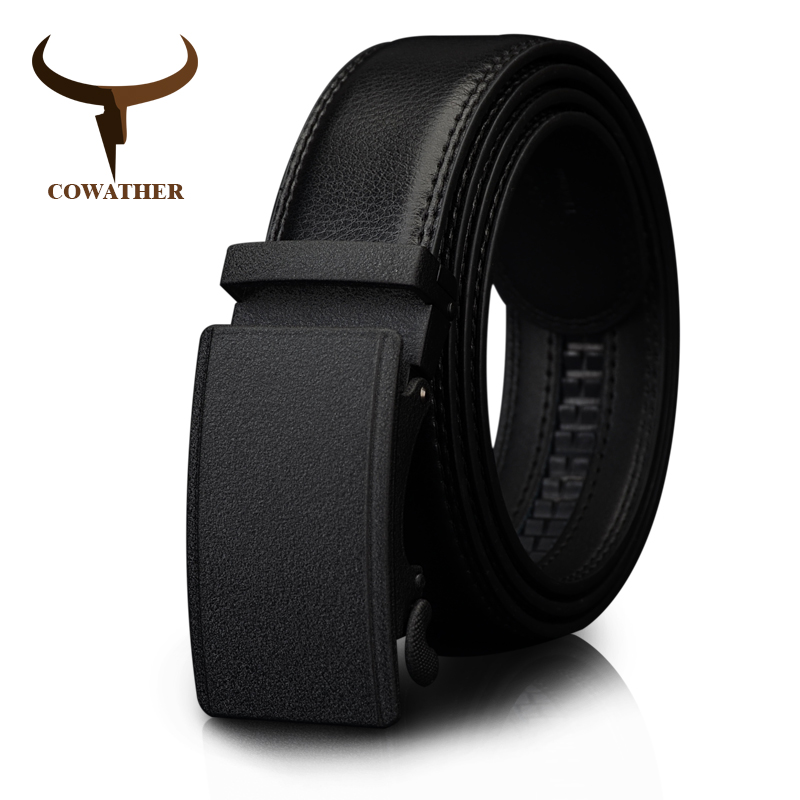 COWATHER Men's Belt Automatic Ratchet Buckle With Cow Genuine Leather Belts For Men Luxury Brand Male Strap 110-130cm Length