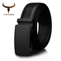 COWATHER Men S Belt Automatic Ratchet Buckle With Cow Genuine Leather Belts For Men Cinto Luxury