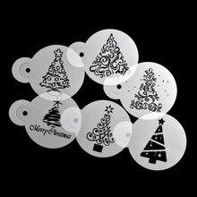 6 ピース/セットクリスマスツリーケーキステンシルウェディングパーティーケーキクッキー金型カップ装飾テンプレートコーヒーラテツール