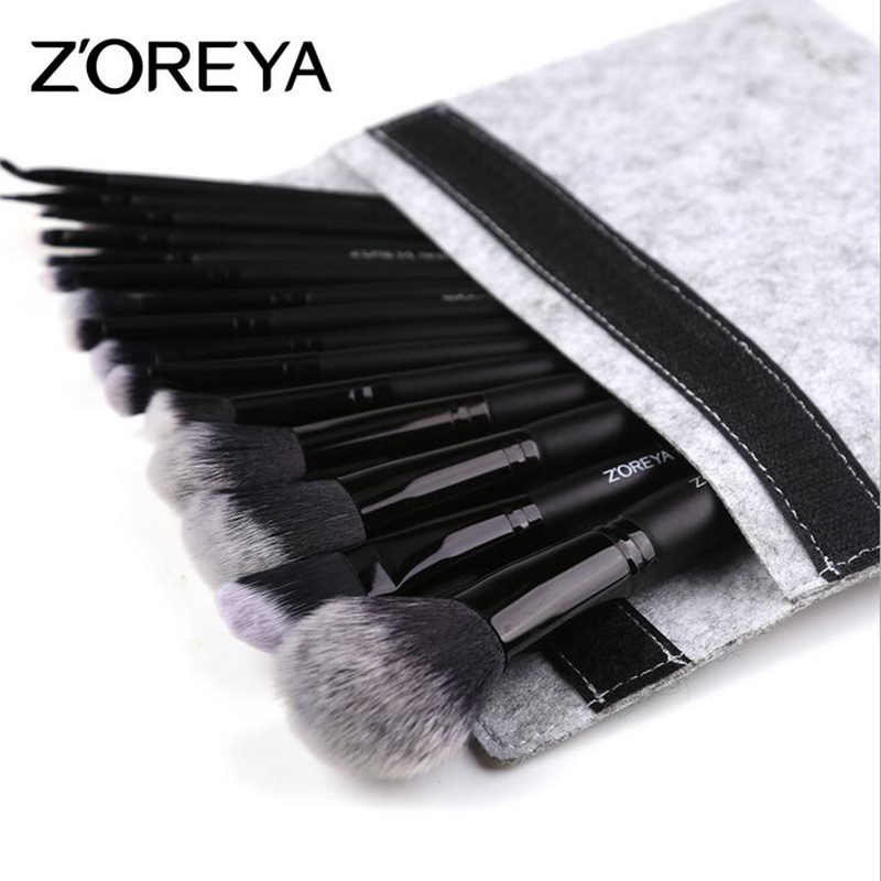 ZOREYA 15 pièces Noir Maquillage Brush Set Fard À Paupières Poudre Fondation Anti-cernes Mélange contour Cils Brosse Pincel Maquiagem Kit