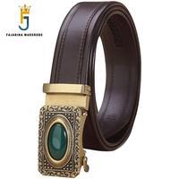FAJARINAReal Jade Decorative Automatic Buckle Belts for Men Top Quality Cow Cowskin Leather Belt Accessories 3.5cm Wide ZDFJ242