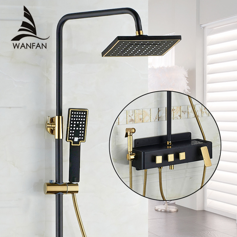 Shower Faucet Brass Black Wall Mounted Bathtub Faucet Rain Shower Head Square Handheld Slide Bar Bathroom
