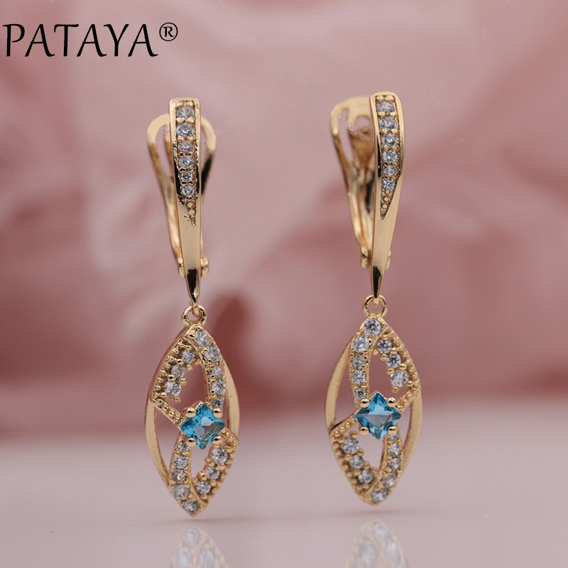 PATAYA New 585 Rose Gold Micro-wax Inlay Square Purple Blue Natural Zircon Long Dangle Earrings Women Wedding Party Fine Jewelry