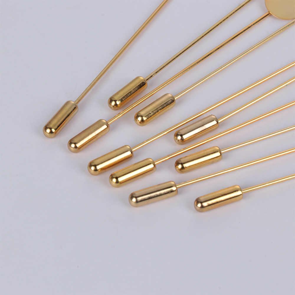 10 Pcs/set Emas & Perak Berlapis Simulasi Mutiara Paduan Tembaga Panjang Pin Bros DIY Kerah Gaun Membuat Perhiasan Bros Dasar /Tray
