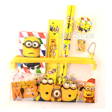 1 set kawaii pencil case cute Kids school supplies stationery set cartoon Minion pencil case& Bag for boys& girls