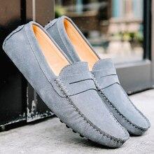 Мокасины мужские из натуральной кожи, мягкие лоферы, теплая плюшевая обувь на плоской подошве, без застежки, для вождения, Осень зима