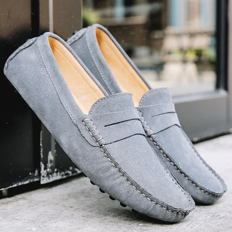 Men Loafers Soft Moccasins Autumn Winter Genuine Leather Shoes Men Warm Fur Plush Flats Gommino Slip On Driving Shoes-in Men's Casual Shoes from Shoes