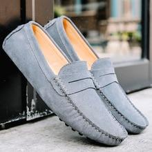 Mocasines suaves de piel auténtica para hombre, zapatos masculinos de felpa, cálidos, sin cordones, para Otoño e Invierno
