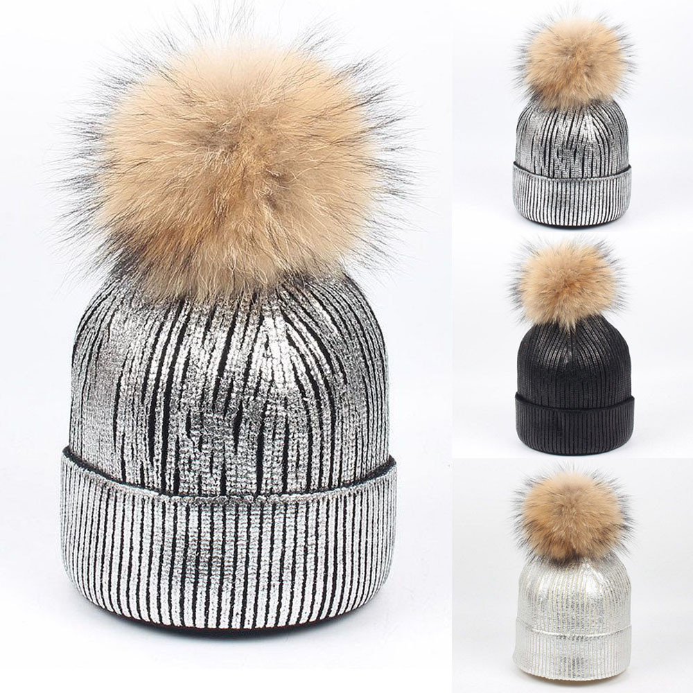 1PCS 15cm Ball Hat fur pompom Women Winter Warm Knit hats Beanie Bobble Ski Knitted caps gorros mujer invierno