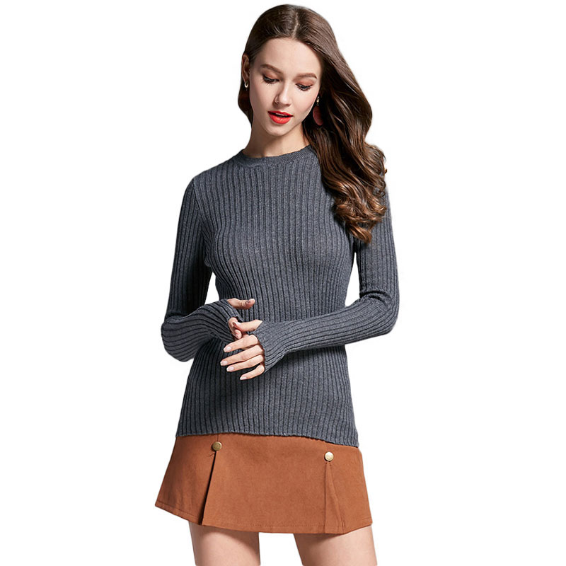 Women Sweater Pullover Basic Rib Knitted Cotton Tops Solid Crew Neck Essential Jumper Long Sleeve Sweaters With Thumb Hole Tops(China)