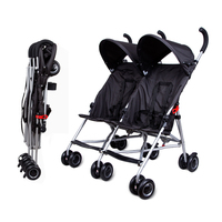 Japan COOLKIDS Twin Baby Stroller Double Stroller Baby Umbrella Car Child Light Portable Folding Carriage 4.95kg