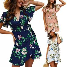 купить Women Ladies Boho Floral Print V Neck Ruffled Hem Holiday Summer Beach Short Sleeve Mini Dress Wrap Sundress по цене 659.13 рублей