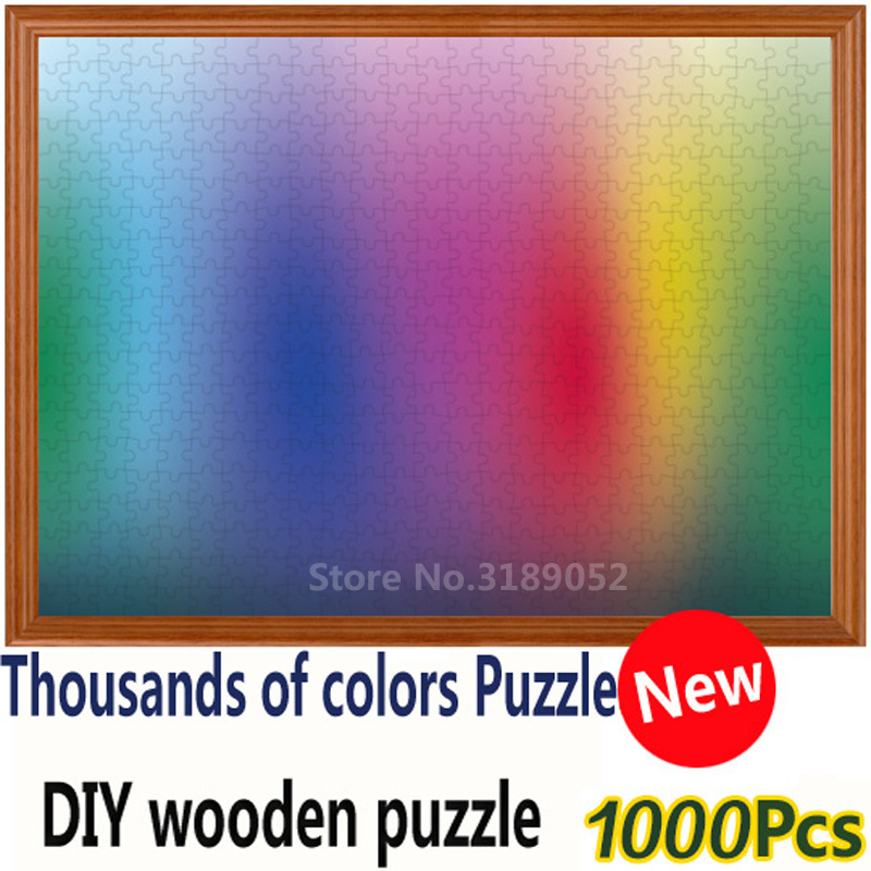 New 1000 pieces RGB Rainbow Jigsaw Puzzle Gradient color creative puzzle wooden Jigsaw puzzle  Adult Kids DIY Educational Toy 1