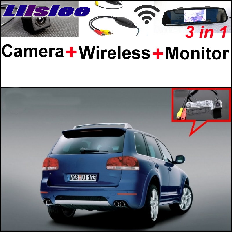 Liislee 3 in1 Special Rear View Camera + Wireless Receiver + Mirror Monitor Easy Parking System For Volkswagen VW Touareg 7L MK1 for mazda 2 demio 3 axela 323 familia 6 m6 liislee car side view camera blind spots areas flexible copilot camera monitor system