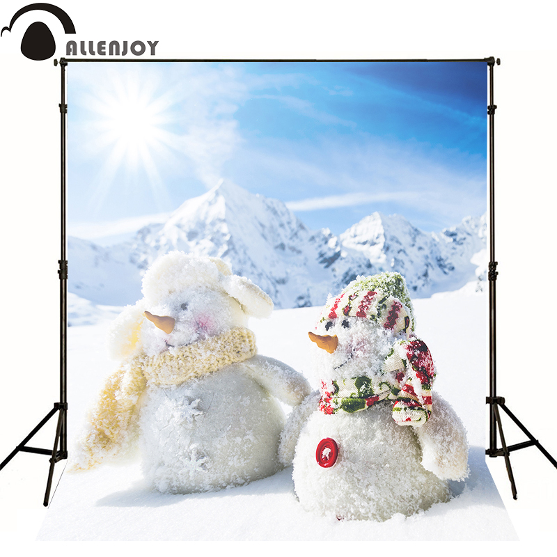 Allenjoy Professional photography background Snowman Snowy winter sun newborn vinyl fabric photocall 8x8 <font><b>10x20</b></font> <font><b>backdrops</b></font> image