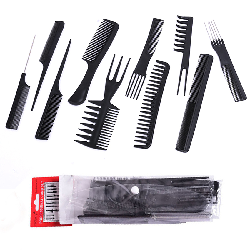10pcs/lot Black Makeup Comb Set Styling Hairdressing Comb In 10 Designs Barber Training Tail Comb Salon Studio HairCut Comb P10 green sandalwood combed wooden head neck mammary gland meridian lymphatic massage comb wide teeth comb
