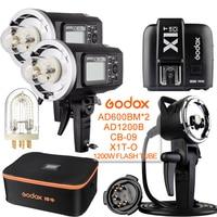 2 предмета Godox ad600bm 600 Вт 2.4 г gn87 1/8000 HSS открытый вспышка + x1t o + ad h1200b + cb 09 + 1200 Вт флэш трубка для Olympus Panasonic