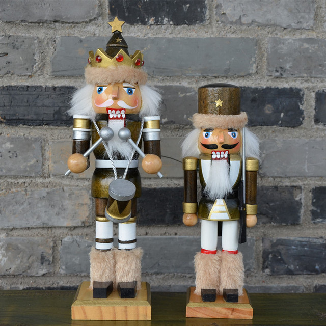 2pcsset high quality original wood soldiers the nutcrackers figurines crafts christmas decorations for home