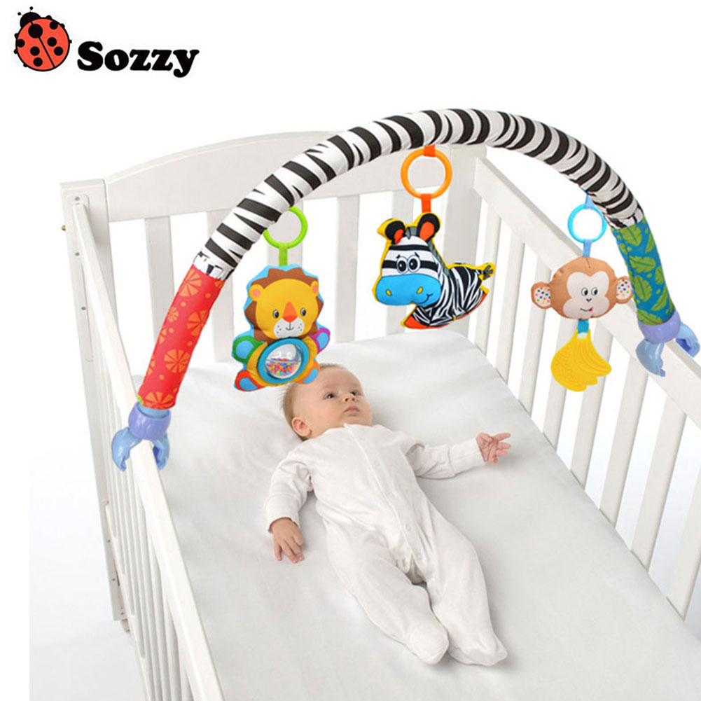 Hot Selling Newborn Crib Bed Hanging Bell/Rattles Toys Plush Lion/Monkey/Zebra Animal Clip Infant Baby Dolls For 0-2 Years Kids ...