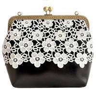 Handmade Schwarz Weiß Spitze Blume Kurze Elegante Süße Sanfte Frauen Kreuzkörper Quadrat Die Mund Gold Paket Handtasche Schulter taschen
