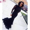 Sexy Sheer Maroon Black Long Sleeve Mermaid Lace Prom Dresses 2017 Selena Gomez Dress Zipper-Up Court Train TB1108