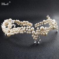 Miallo Thời Trang Đầy Đủ Ngà Màu Trắng Ngọc Trai Headband Handmade Công Chúa Tiaras và Crowns Phụ Nữ Tóc Trang Sức Cưới Hairpieces