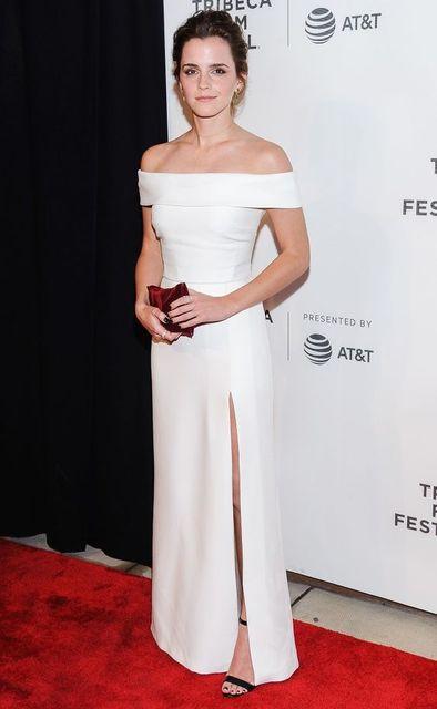 Sexy Inspiré par Emma Watson Robe De Célébrité Robe de Soirée Blanc Droite  de Split Longue
