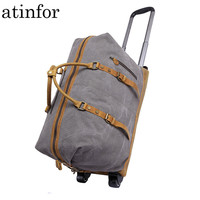 Wheel Trolley Men Travel Bag Waterproof Vintage Canvas Weekend Traveling Duffle Bags Large Carry on Luggage Bag