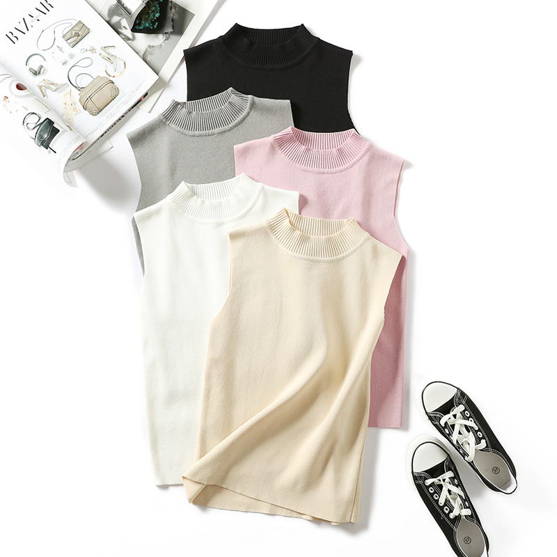 Top-Vest Crop-Tops Knitted Women Tank-Top Camisole T-Shirt Fitness Femme Summer White