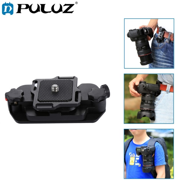 PULUZ Capture Camera Clip Holster Aluminum Alloy Quick Strap Buckle Quick Release Clip Plate with 1/4 tripod Screws for DSLR